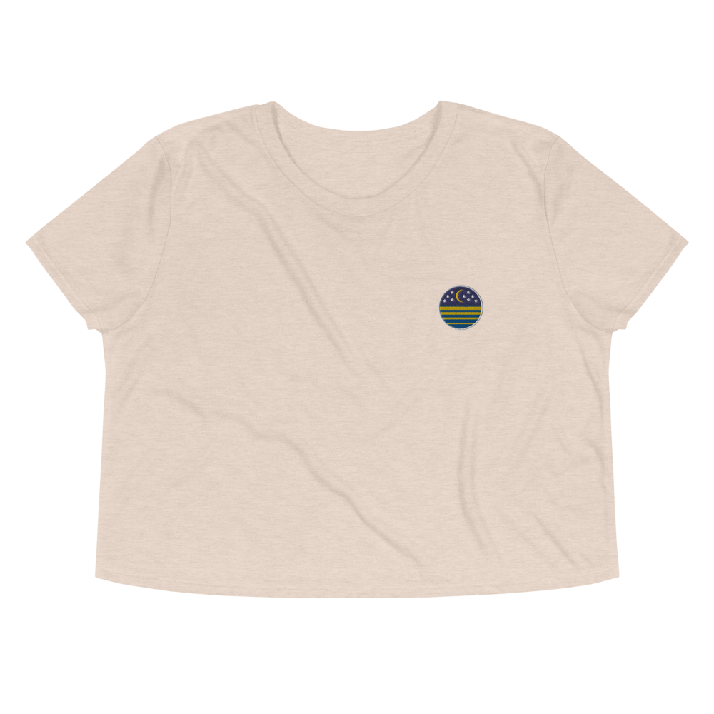 Ocean Moon Embroidered Crop Tee
