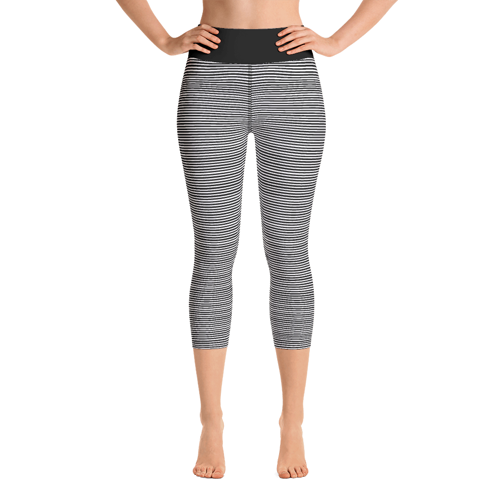 Black Stripes Cropped Yoga Leggings