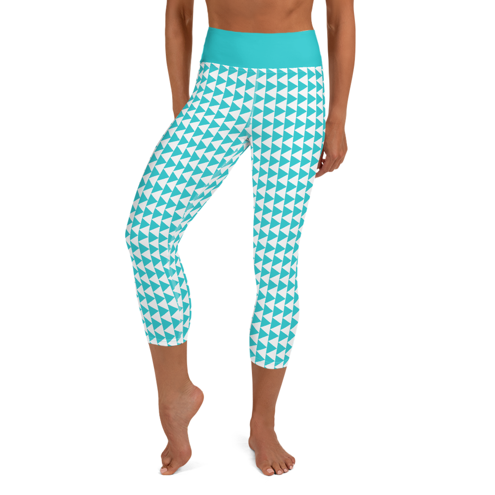 Aqua Triangles Cropped Yoga Leggings