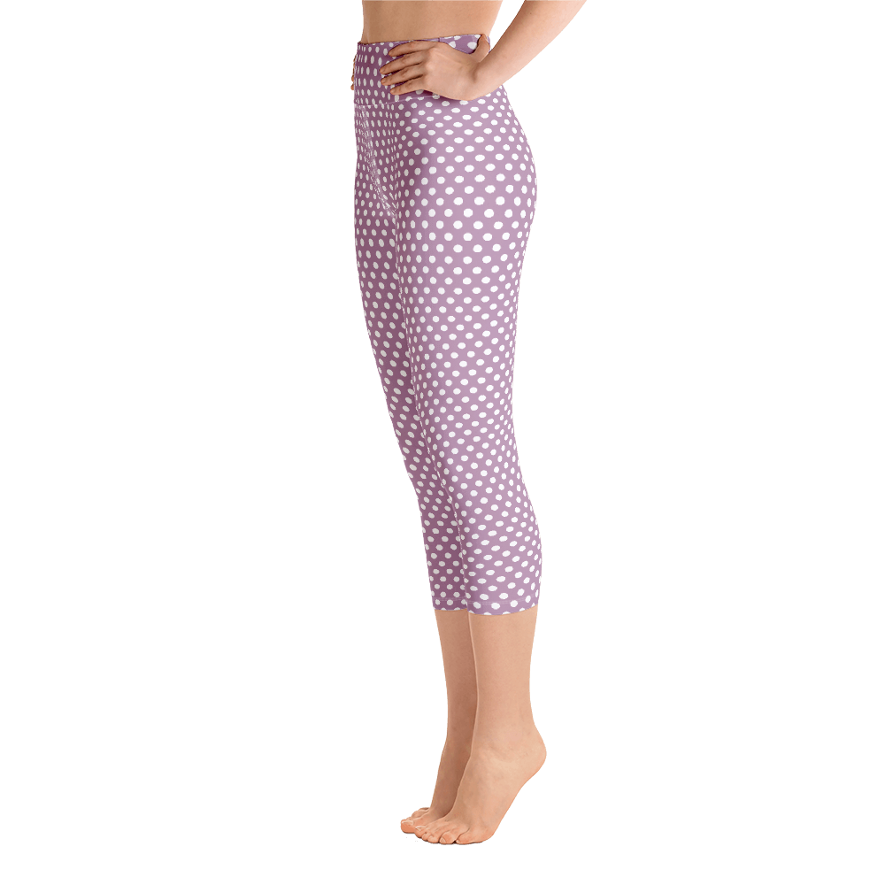 Lilac Dots Cropped Yoga  Leggings