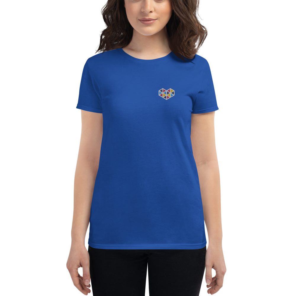 Geometric Love Embroidered Women's Short Sleeve T-Shirt
