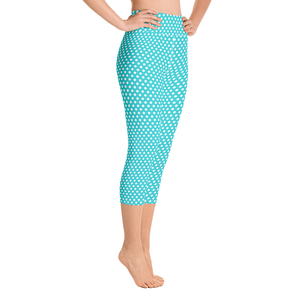 Aqua Dots Cropped Yoga Leggings