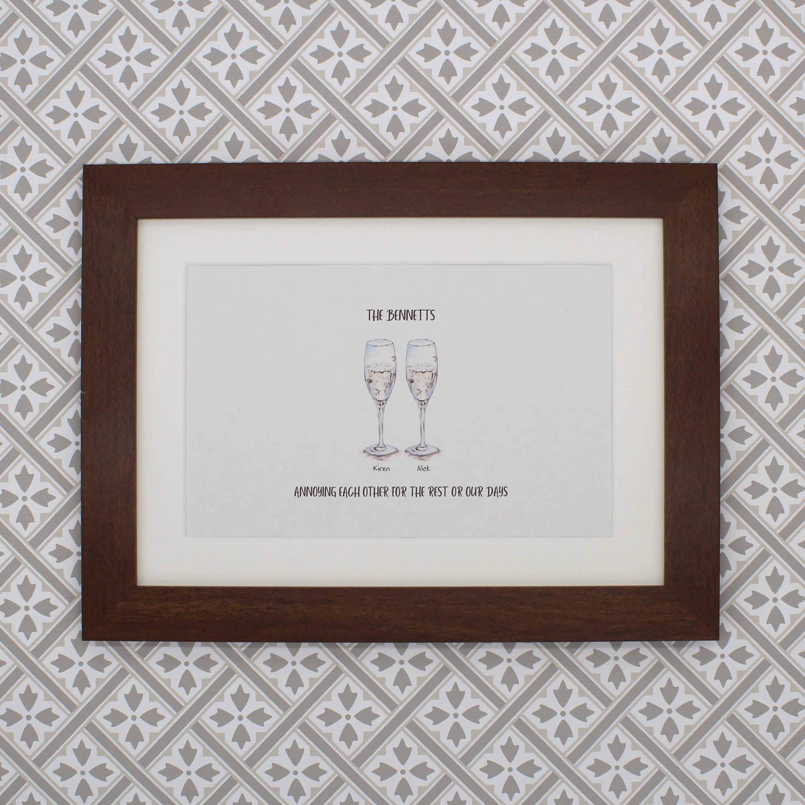 Personalised drinks hand painted anniversary print