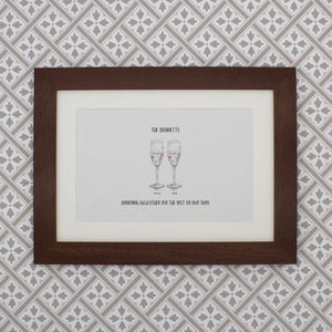 Painted drinks personalised anniversary drinks print