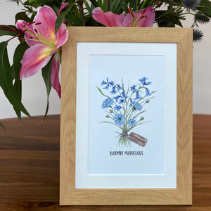Personalised Blue Flowers Print