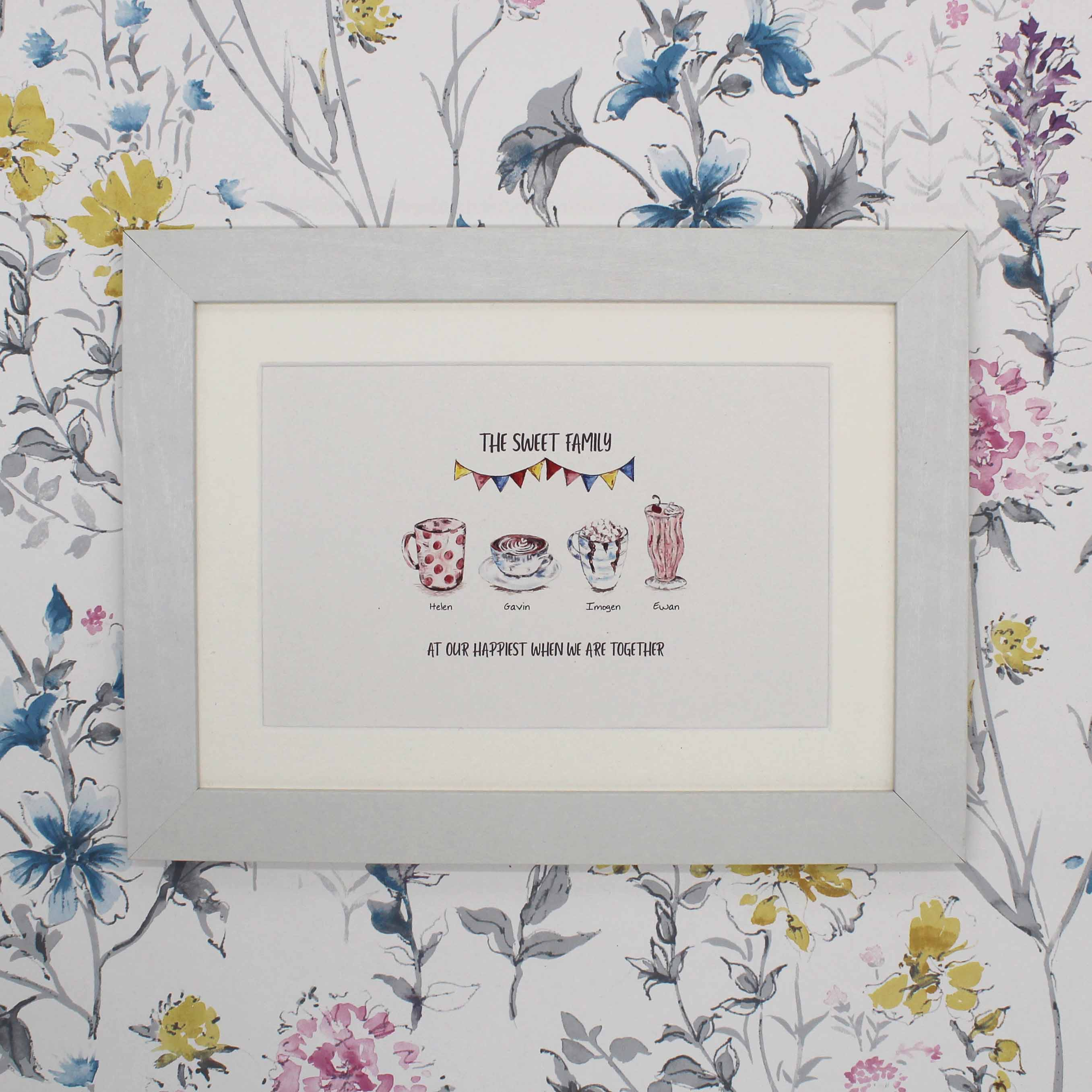 Painted drinks personalised family drinks print