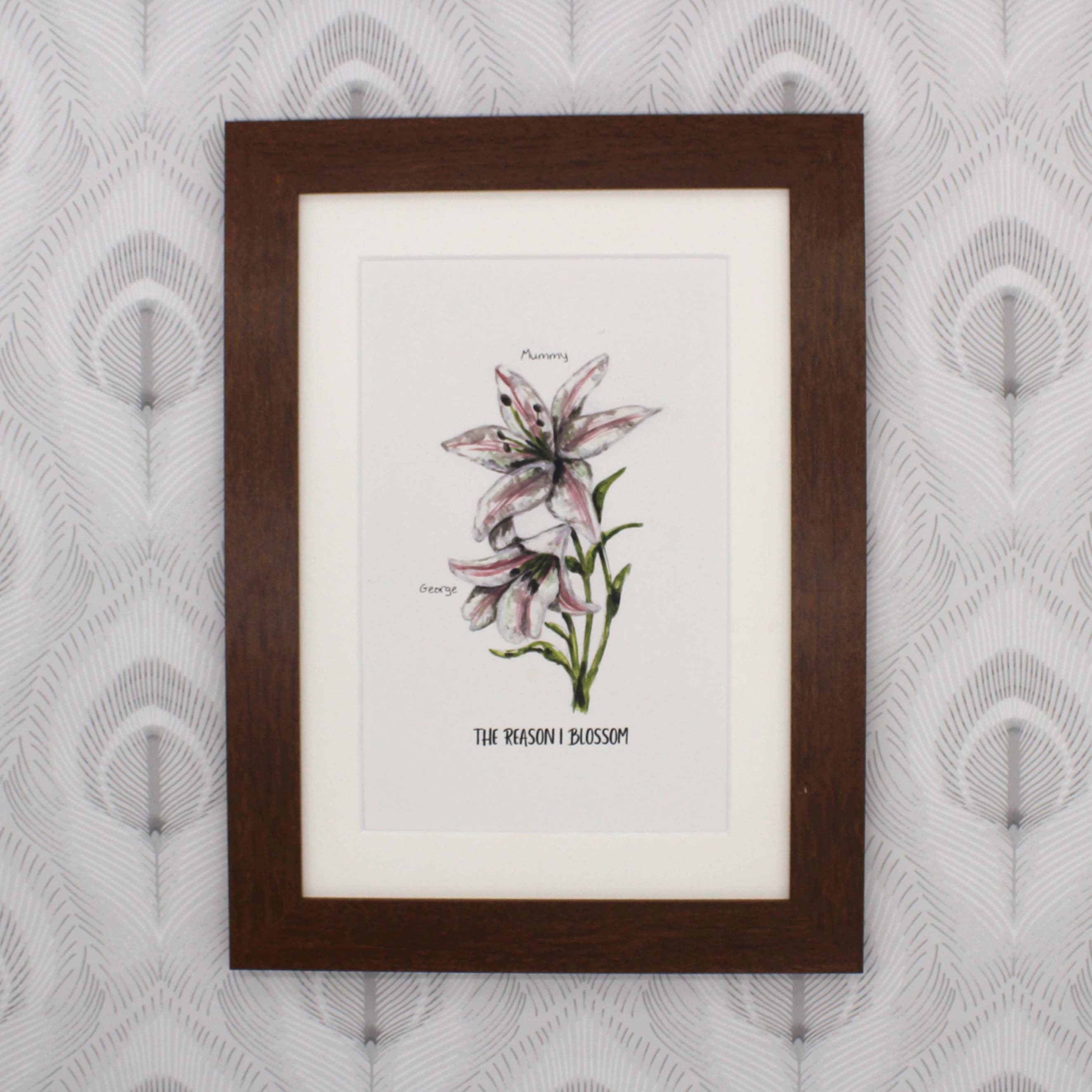 Personalised hand painted Lilies flower family print