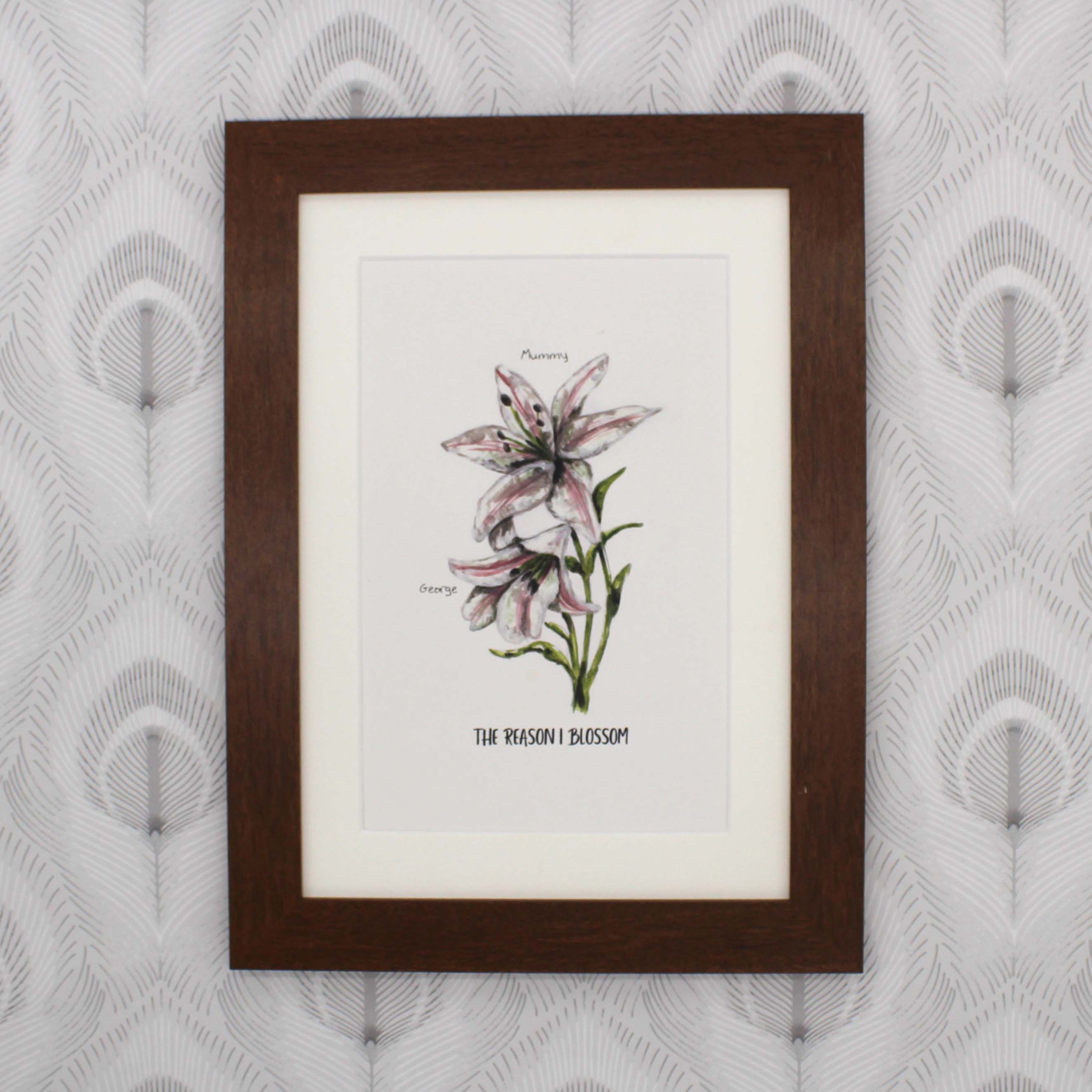Mother and Son Hand Painted Personalised Lily Print
