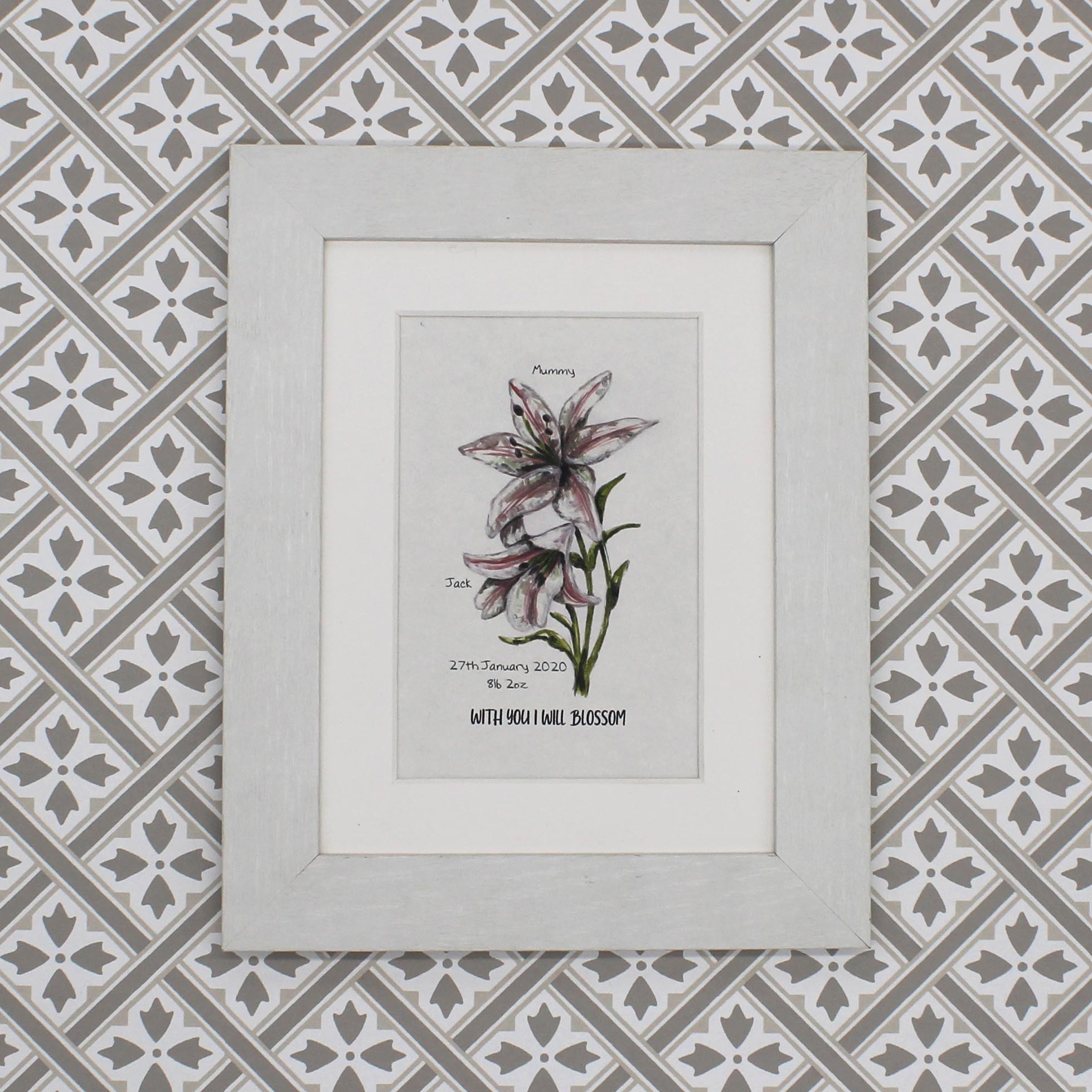 Personalised Hand Painted New Baby Lily Print