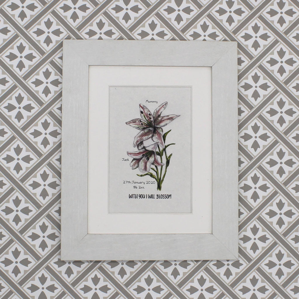 Personalised New Baby Lilly Print