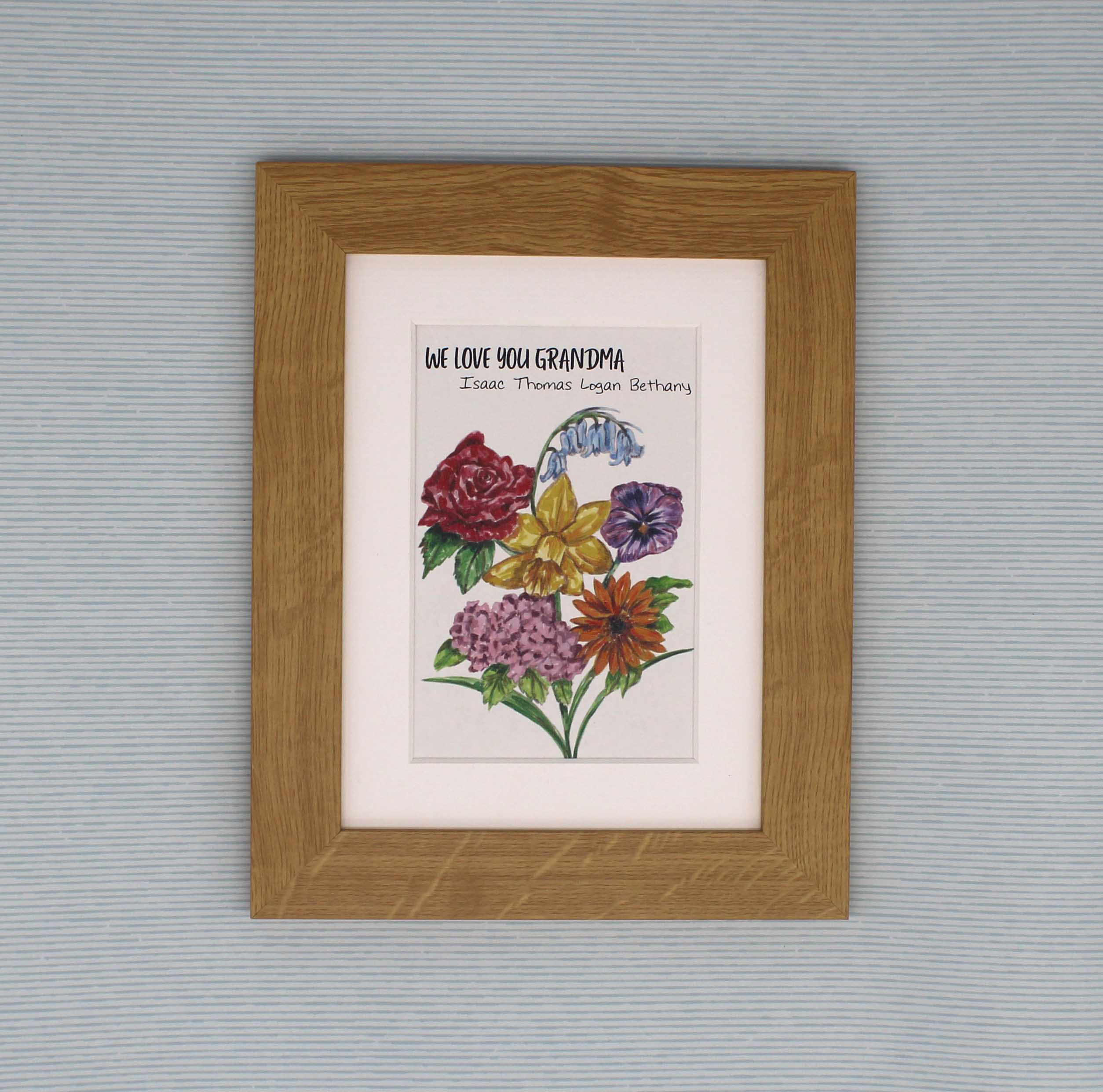 Personalised Rainbow Flowers Print