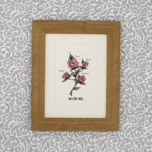 Personalised hand painted roses flower family print
