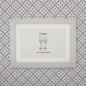 Personalised drinks hand painted wedding print