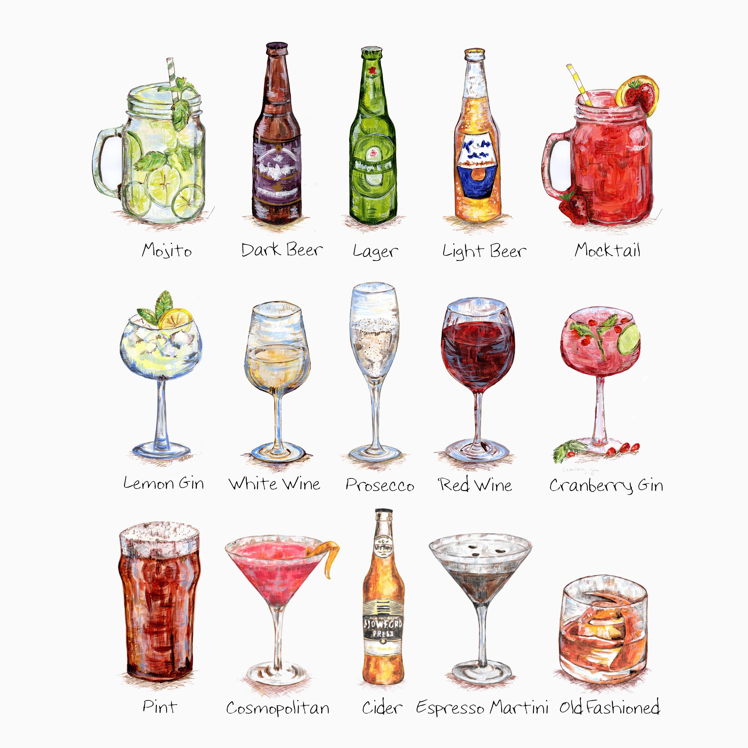Sentiment Personalised Single Drink Print