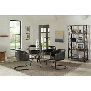 Round Dining Table with Leather Barrel Chairs - 5 PC Set - HER Home Design