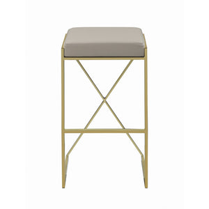 "Upholstered Bar Stool Taupe with Brass Legs - 29.5"" - HER Home Design"