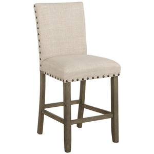 Upholstered Counter Height Stools With Nailhead Trim Beige (Set Of 2)