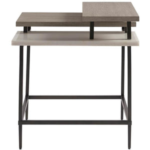 Geometric Stone and Wood Accent Table - HER Home Design