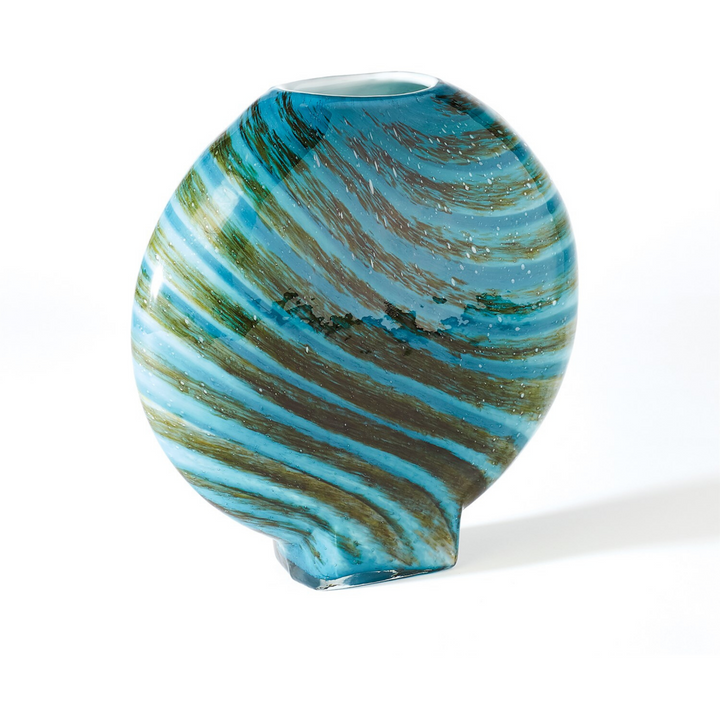 Swirl Round Vase in Aqua Green