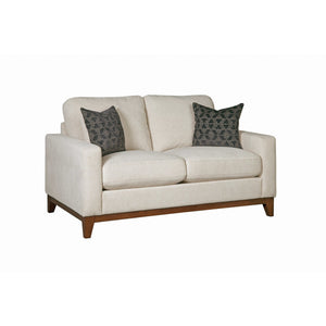 Upholstered Track Arms Loveseat in Beige - HER Home Design