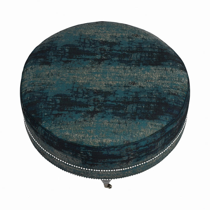 Teal Round Ottoman with Nailheads - HER Home Design