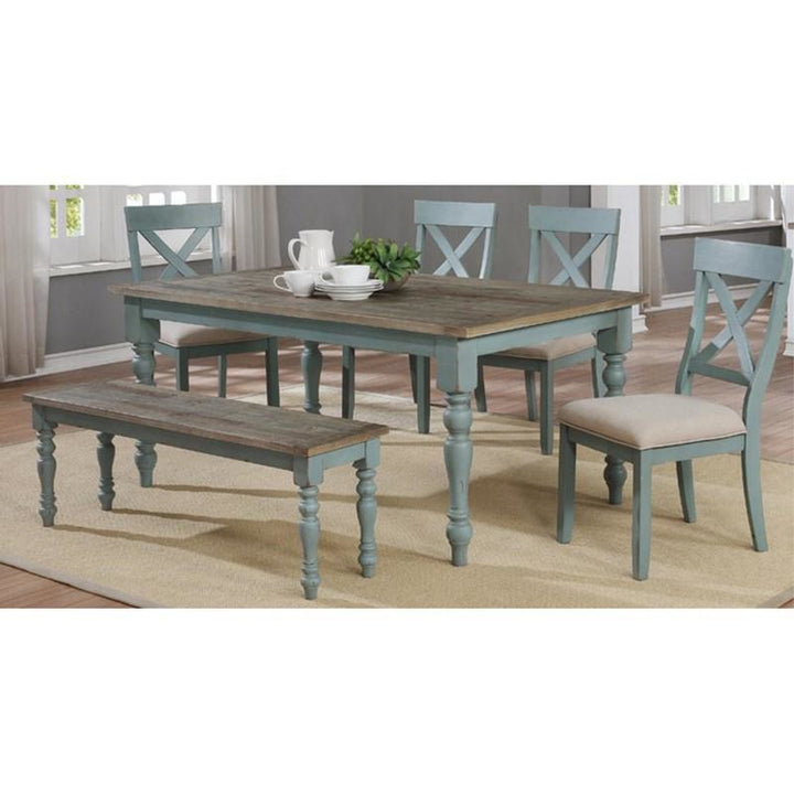 French Country Dining Set in Robin Egg Blue - 6 PC Set - HER Home Design