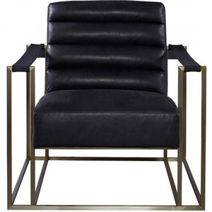 Leather Accent Chair in Black - HER Home Design