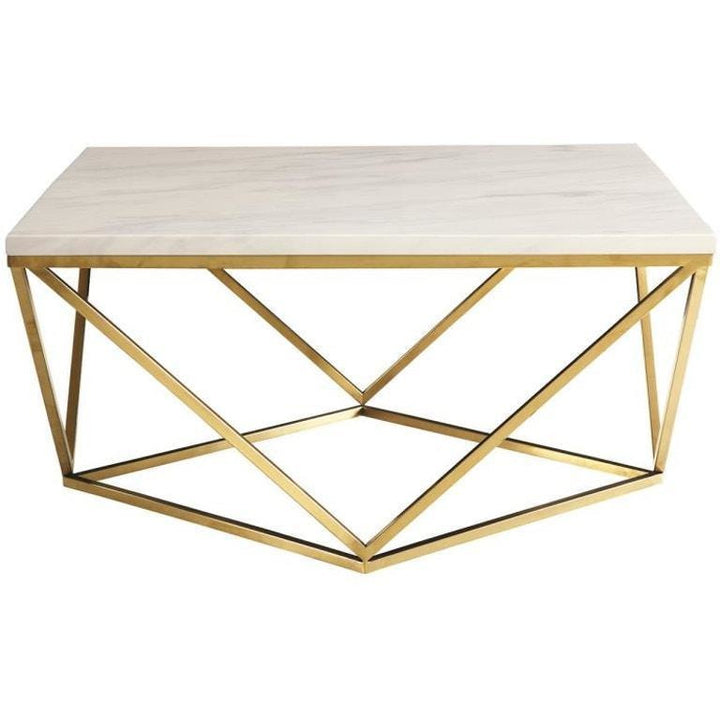 Faux Marble Top Brass Base Coffee Table in White - HER Home Design