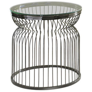 Round Glass Top End Table in Black Nickel