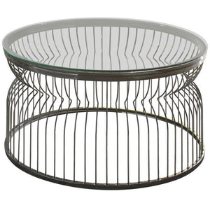 Round Wire Glass Top Coffee Table in Black Nickel