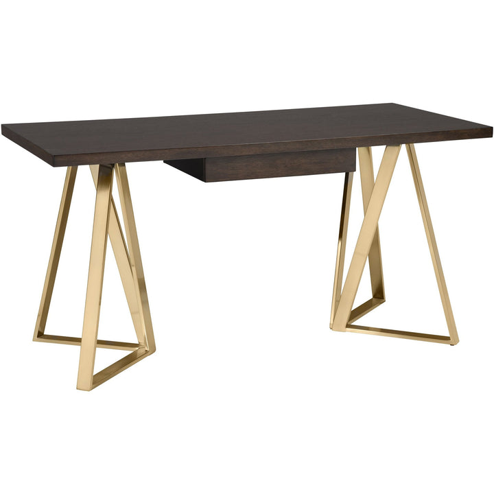 Writing Desk with Brushed Gold Legs - HER Home Design