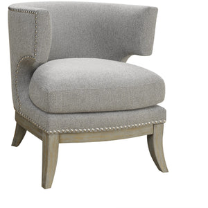 Barrel Accent Chair in Weathered Gray - HER Home Design