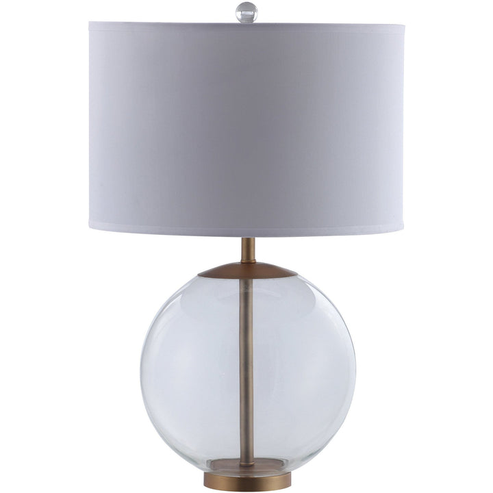 Drum Shade Table Lamp With Glass and Brass Base - HER Home Design