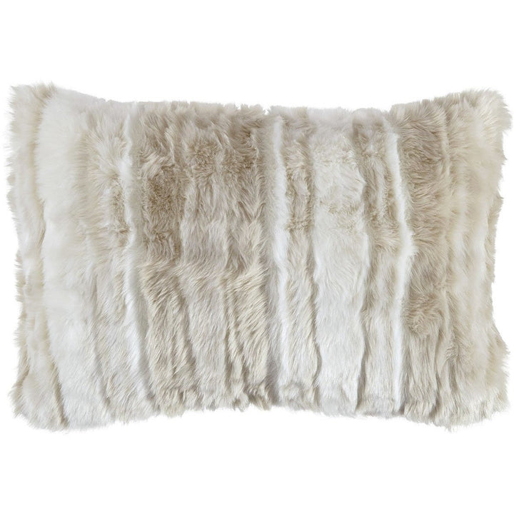 Fur accent pillow in beige - HER Home Design