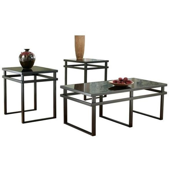 Metal Occasional Table Set in Black (3-PC) - HER Home Design
