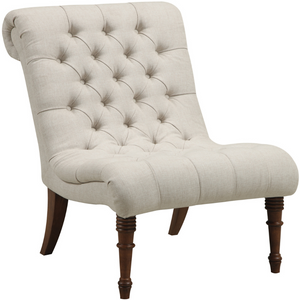 Archie Armless Tufted Back Accent Chair in Oatmeal