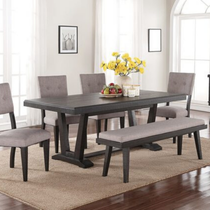 Modern Farmhouse Dining Table Set in Black - HER Home Design
