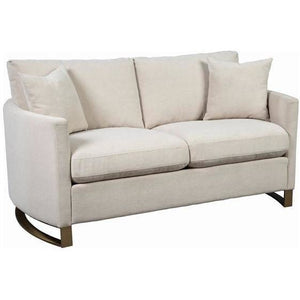 Arched Arms Love Seat in Beige and Rose Brass - HER Home Design