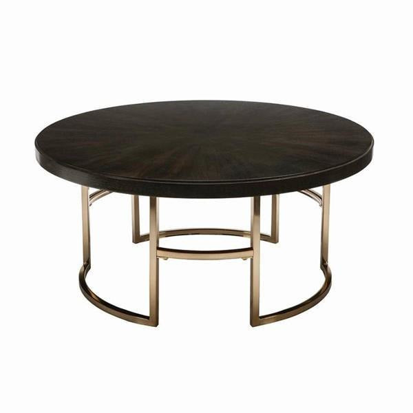 Round Coffee Table Americano And Rose Brass - HER Home Design