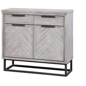 Two Door Double Drawer Accent Cabinet in White Rubbed Finish