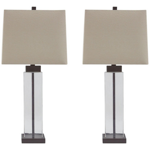Glass Table Lamp in Clear / Bronze (Set of 2)