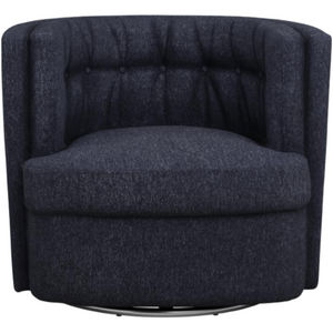 Recessed Arm Tufted Back Swivel Chair in Navy