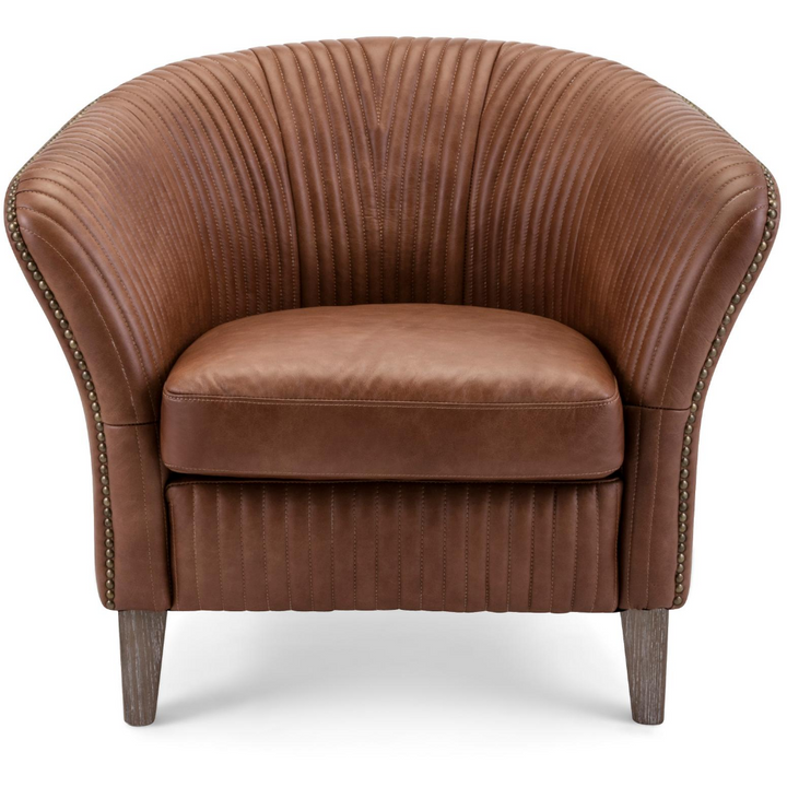Mid-Century Modern Leather Barrel Chair in Cognac Brown