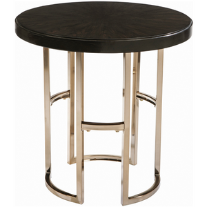 Round End Table Americano And Rose Brass