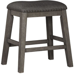 "Upholstered Stool with Nailheads in Dark Gray (Set of 2) - 24"" - HER Home Design"