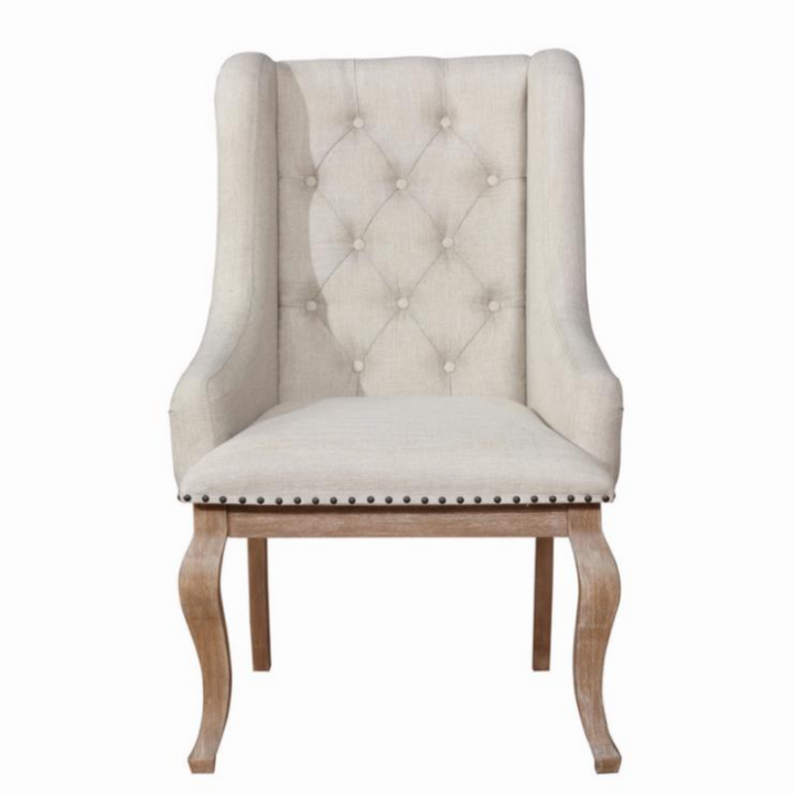 New Traditional Tufted Dining Arm Chairs in Cream (Set of 2) - HER Home Design