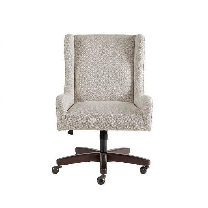 Rolling Upholstered Desk Chair in Cream