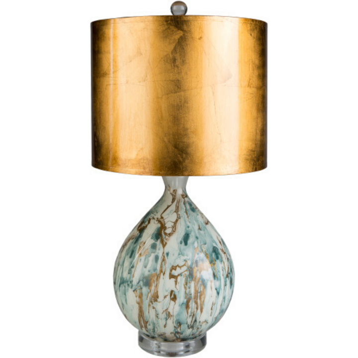 Gabrial Table Lamp in Aqua and Gold - HER Home Design