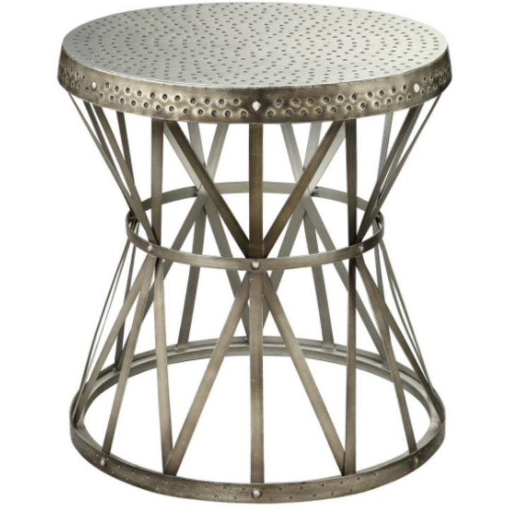 Metal Accent Table in Hammered Antique Nickel