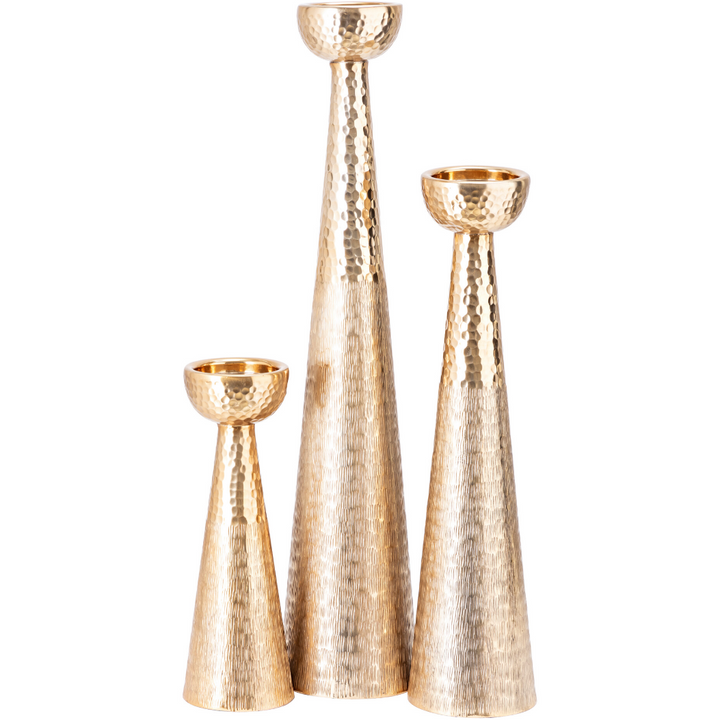 Aluminum Candle Holders in Gold (Set of 3) - HER Home Design